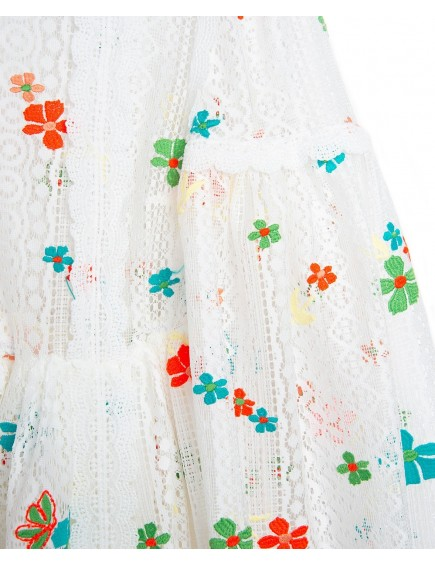 Vestido Encaje Bordado Flores