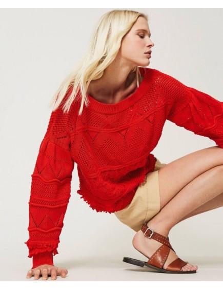 Jersey de Crochet con Flecos