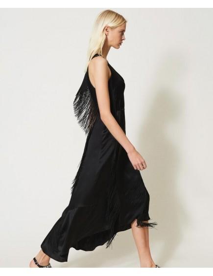 Vestido de Seda con Flecos
