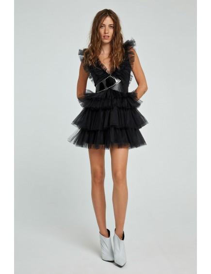 Vestido Corto Tull Negro