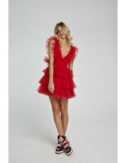 Vestido Corto Tull Rojo