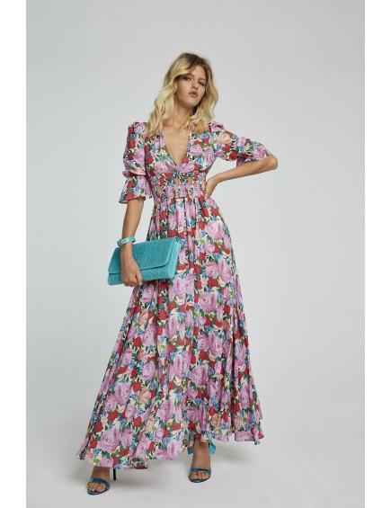 Vestido Nido de Abeja Floral