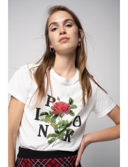 Camiseta con Estampado de Rosa